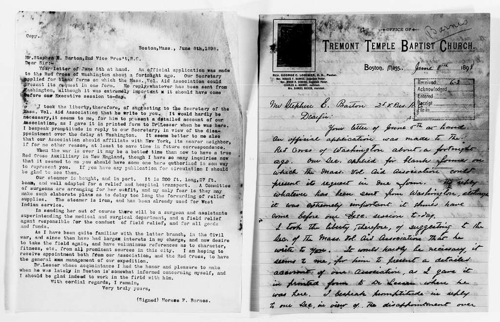Clara Barton Papers: Red Cross File, 1863-1957; American National Red Cross, 1878-1957; Relief operations; Spanish-American War; Field operations; Ponce, Puerto Rico; Barnes, Horace F., 1898-1899, undated