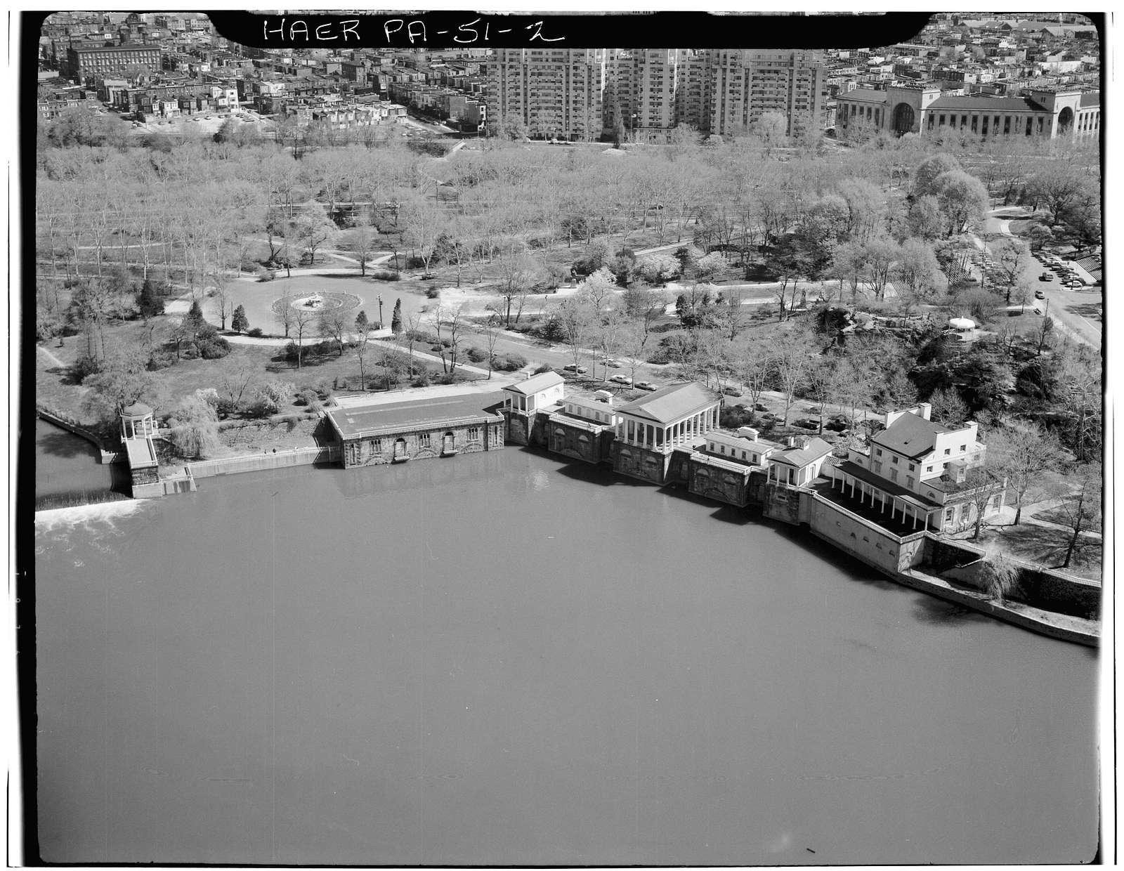 Fairmount Waterworks, East bank of Schuylkill River, Aquarium Drive, Philadelphia, Philadelphia County, PA