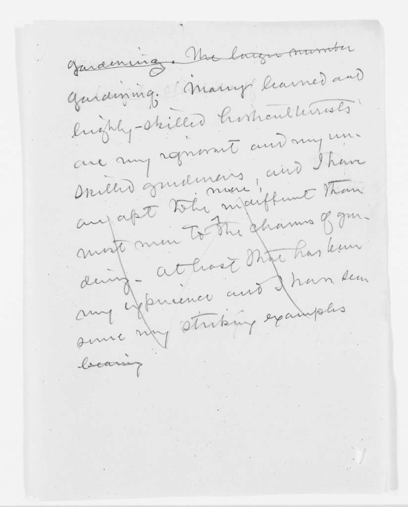Frederick Law Olmsted Papers: Speeches and Writings File, 1839-1903; circa 1880-1890; On gardening, landscape architecture, etc., notes and fragments; 1 of 5