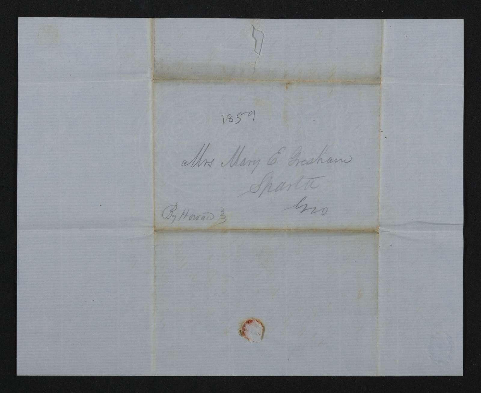 Lewis H. Machen Family Papers: Gresham Family Correspondence, 1834-1925; 1855-1859