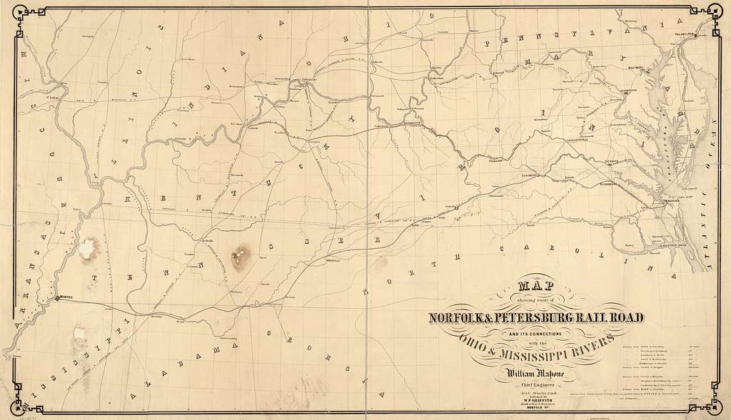 Map showing route of Norfolk & Petersburg Rail Road and its connections with Ohio & Mississippi Rivers, William Mahone, Chief Engineer, F. Bourquin & Co., Philada.