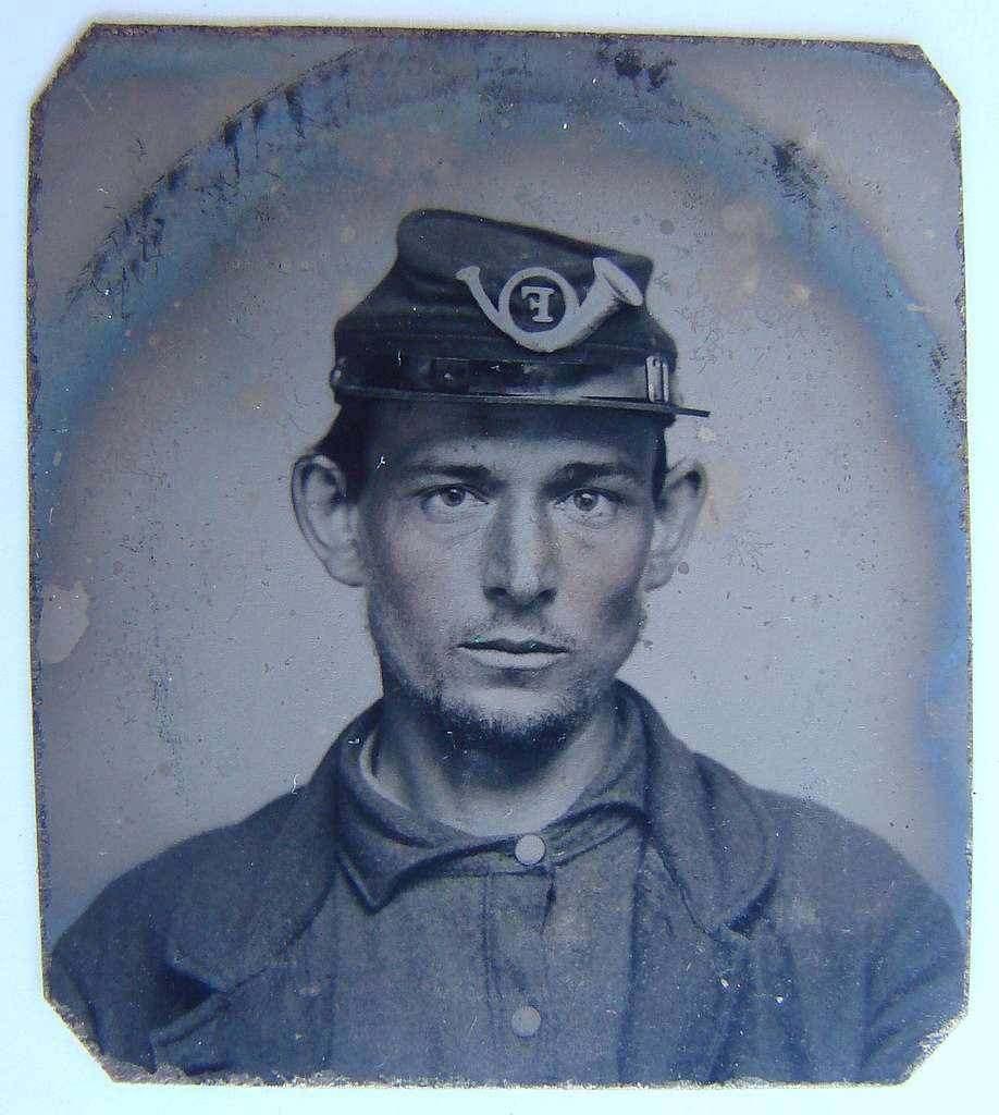 [Unidentified soldier in Union uniform and Company F infantry forage cap]