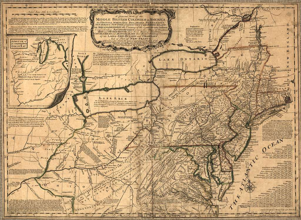 A general map of the middle British colonies in America: Viz. Virginia, Maryland, Delaware, Pensilvania, New-Jersey, New-York, Connecticut and Rhode-Island: Of Aquanishuonigy the country of the confederate Indians comprehending Aquanishuonigy proper, their places of residence, Ohio and Thuchsochruntie their deer hunting countries, Couchsachrage and Skaniadarade their beaver hunting countries, of the Lakes Erie, Ontario and Champlain, and of part of New France: Wherein is also shewn the antient and present seats of the Indian nations;