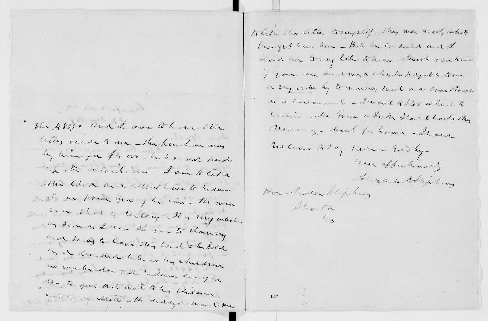 Alexander Hamilton Stephens Papers: General Correspondence, 1784-1886; 1859, Oct. 25-1860, Mar. 4