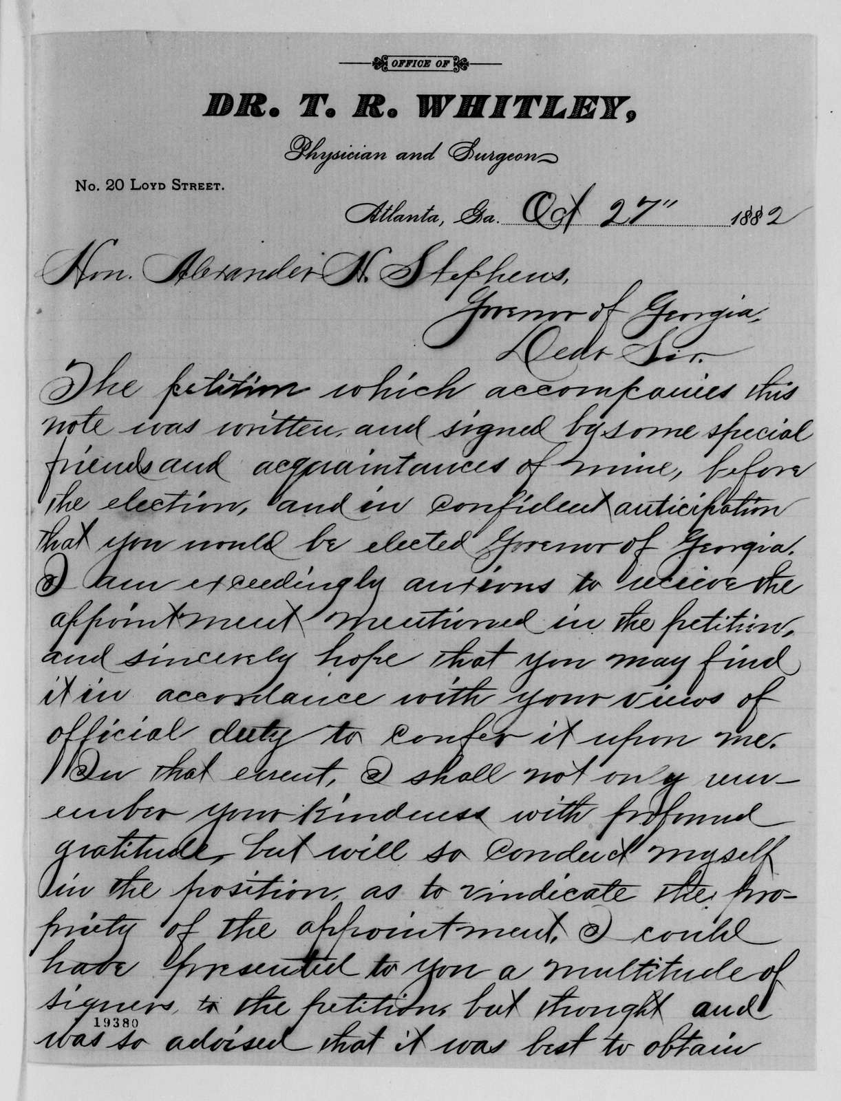 Alexander Hamilton Stephens Papers: General Correspondence, 1784-1886; 1882, Oct. 9-1883, Jan. 5