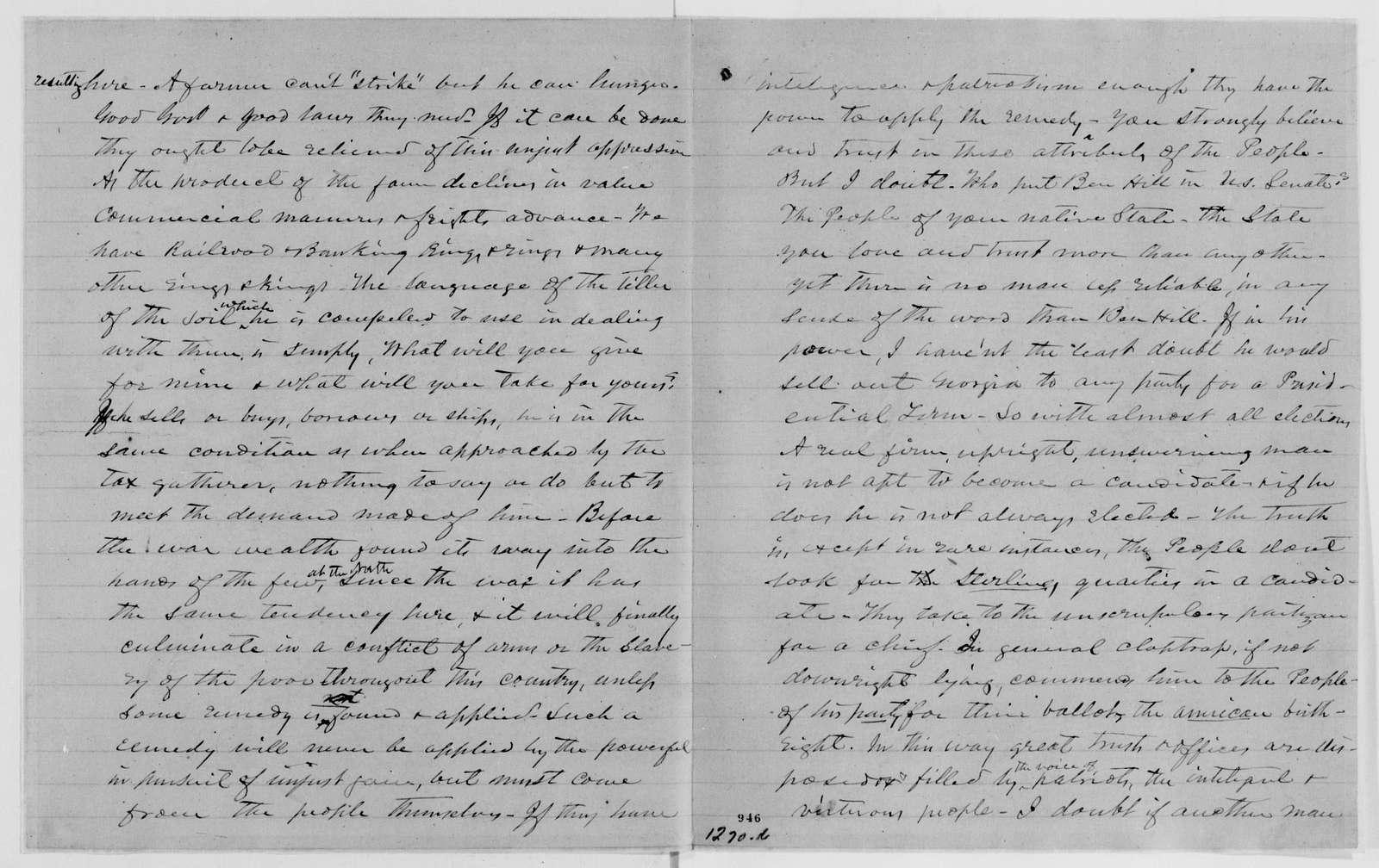 Alexander Hamilton Stephens Papers: General Correspondence, 1784-1886; 1882, Oct. 9-1883, Jan. 5