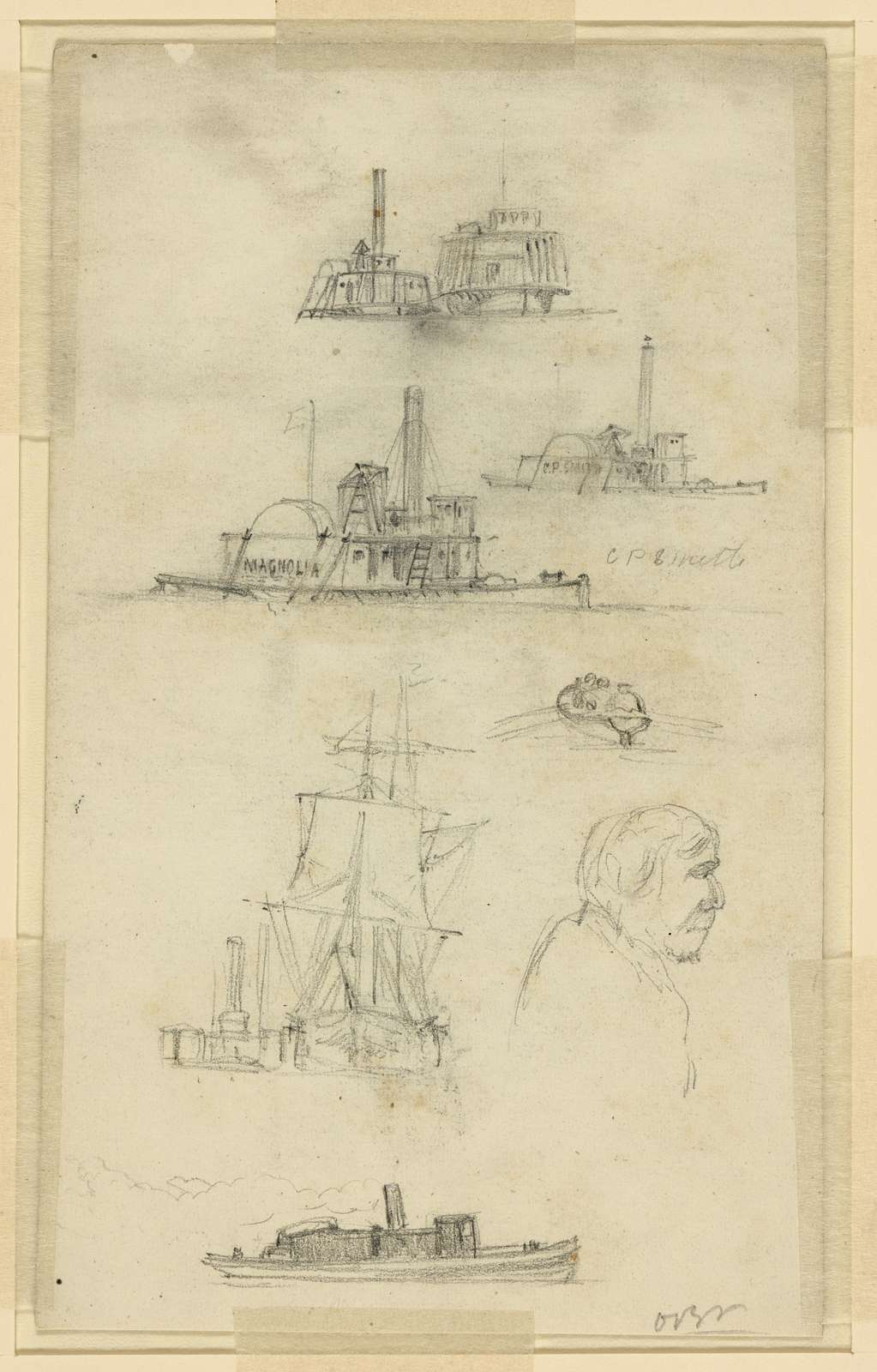[Broadside and bow views of eight ships and boats, and an unidentified profile bust portrait]