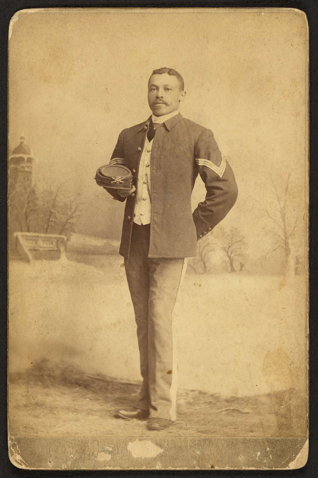 [Buffalo Soldier, 25th Infantry, Co.] / Goff, photographer, Fort Cust[e]r, Mont.