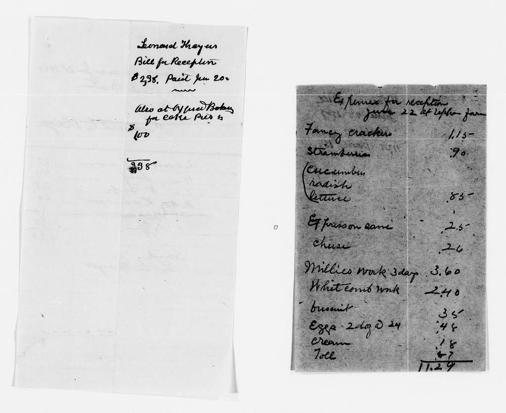 Clara Barton Papers: Miscellany, 1856-1957; Financial and legal papers; Bills and receipts; 1889, Dec.-1912, Jan., undated