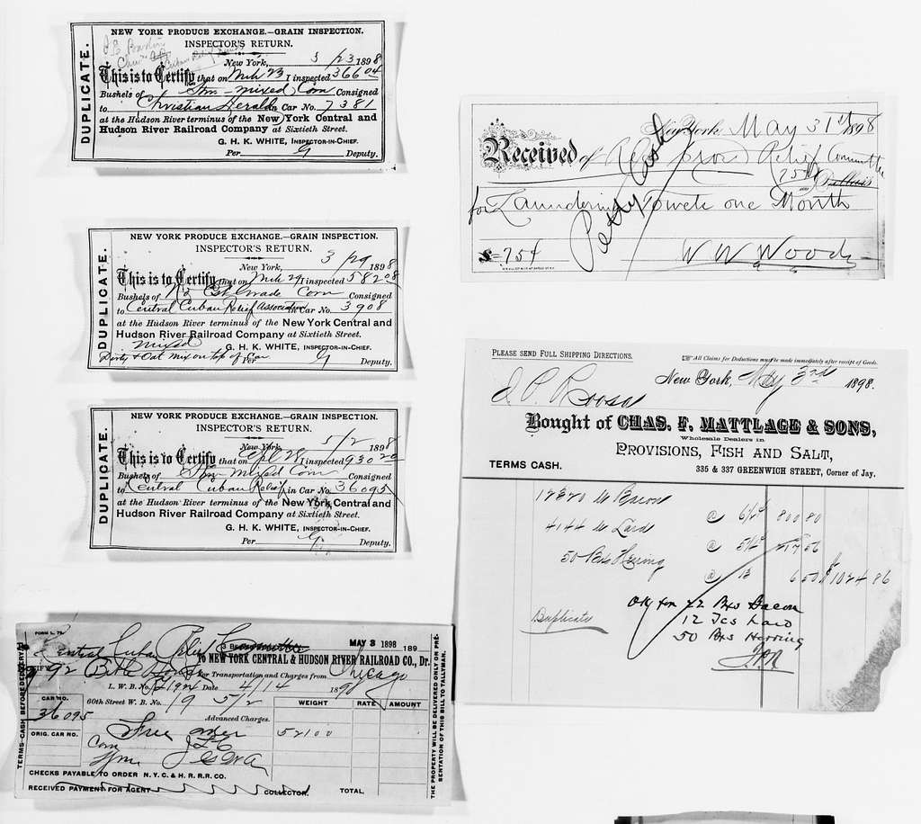 Clara Barton Papers: Red Cross File, 1863-1957; American National Red Cross, 1878-1957; Relief operations; Spanish-American War; Accounts and supplies; Bills and receipts; 1898, May-1899, Dec., undated