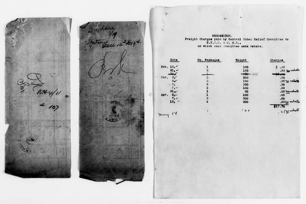 Clara Barton Papers: Red Cross File, 1863-1957; American National Red Cross, 1878-1957; Relief operations; Spanish-American War; Accounts and supplies; Freight bills and manifests; 1898, May-1899, July