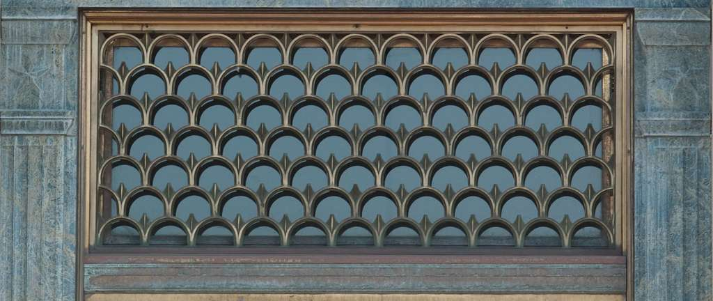 Exterior grill detail of Federal Building and U.S. Courthouse, Binghamton, New York