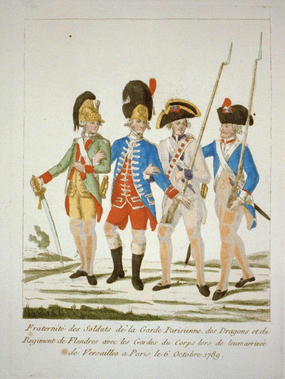 Fraternité des Soldats de la Garde Prisienne des Dragons et du Regiment de Flanders avec les Gardes du Corps lors de leurs arriveé de Versailles a Paris de 6 Octobre 1789