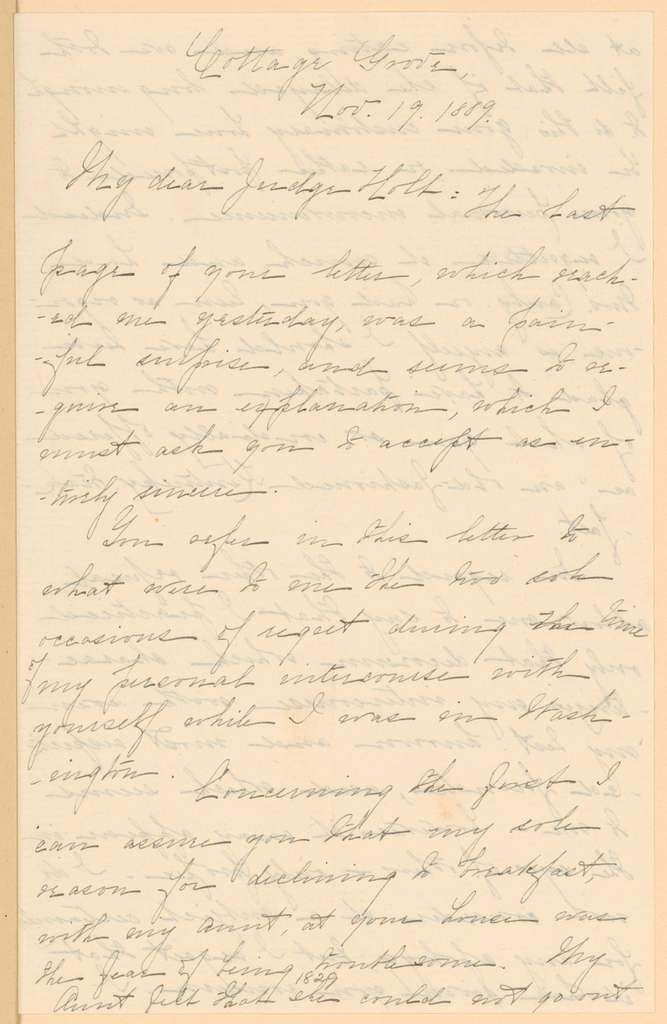 Joseph Holt Papers: General Correspondence and Related Material, 1817-1894; 1889, Aug. 7-Dec. 26