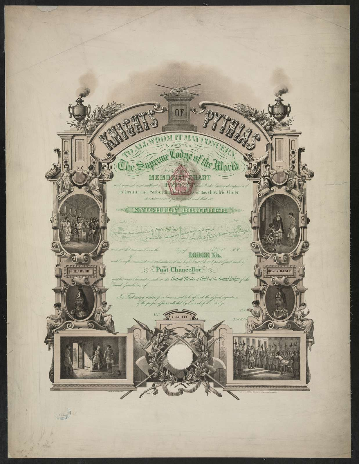 Knights of Pythias, to all whom it may concern. Know ye that the Supreme Lodge of the World hereby issues this memorial chart ... / J. Queen del. ; lith. by T. Hunter, Phila.