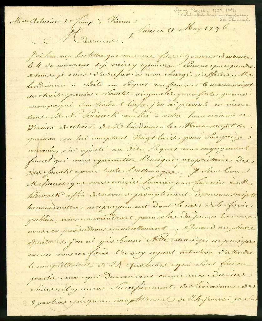 Letter from Ignace Joseph Pleyel to Artaria,  21 May 1796