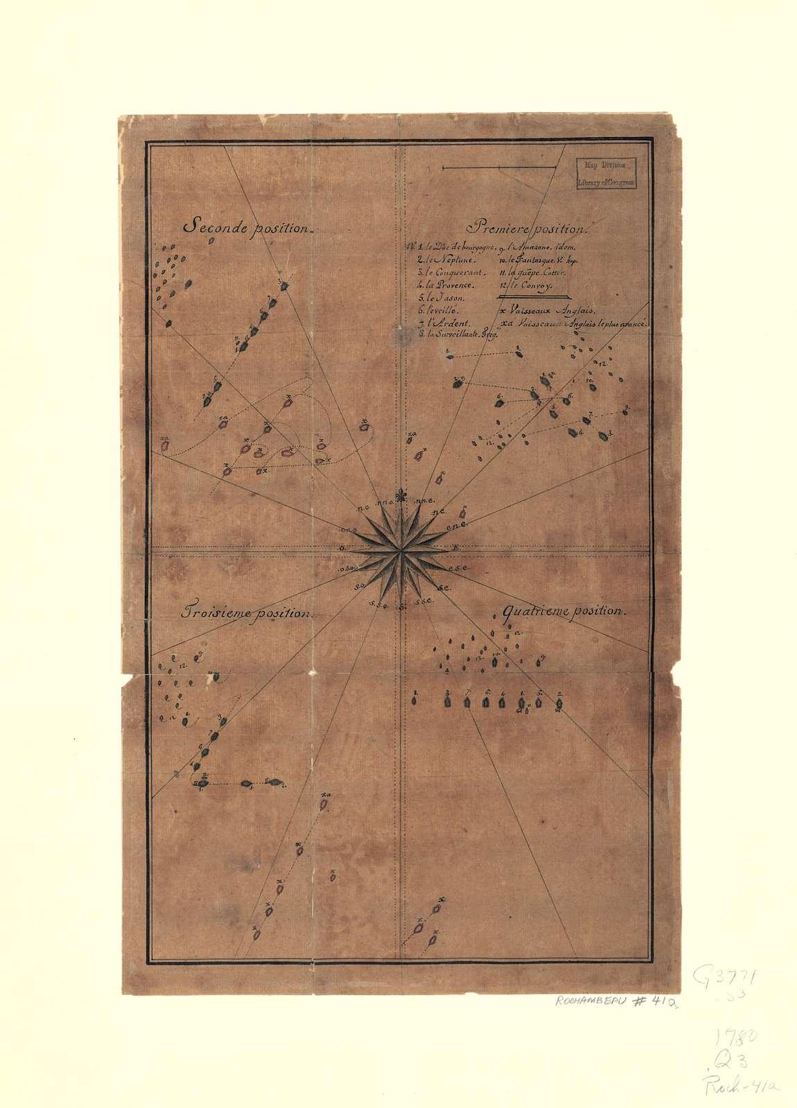 Quatre positions de la flotte française et positions de la flotte anglaise.