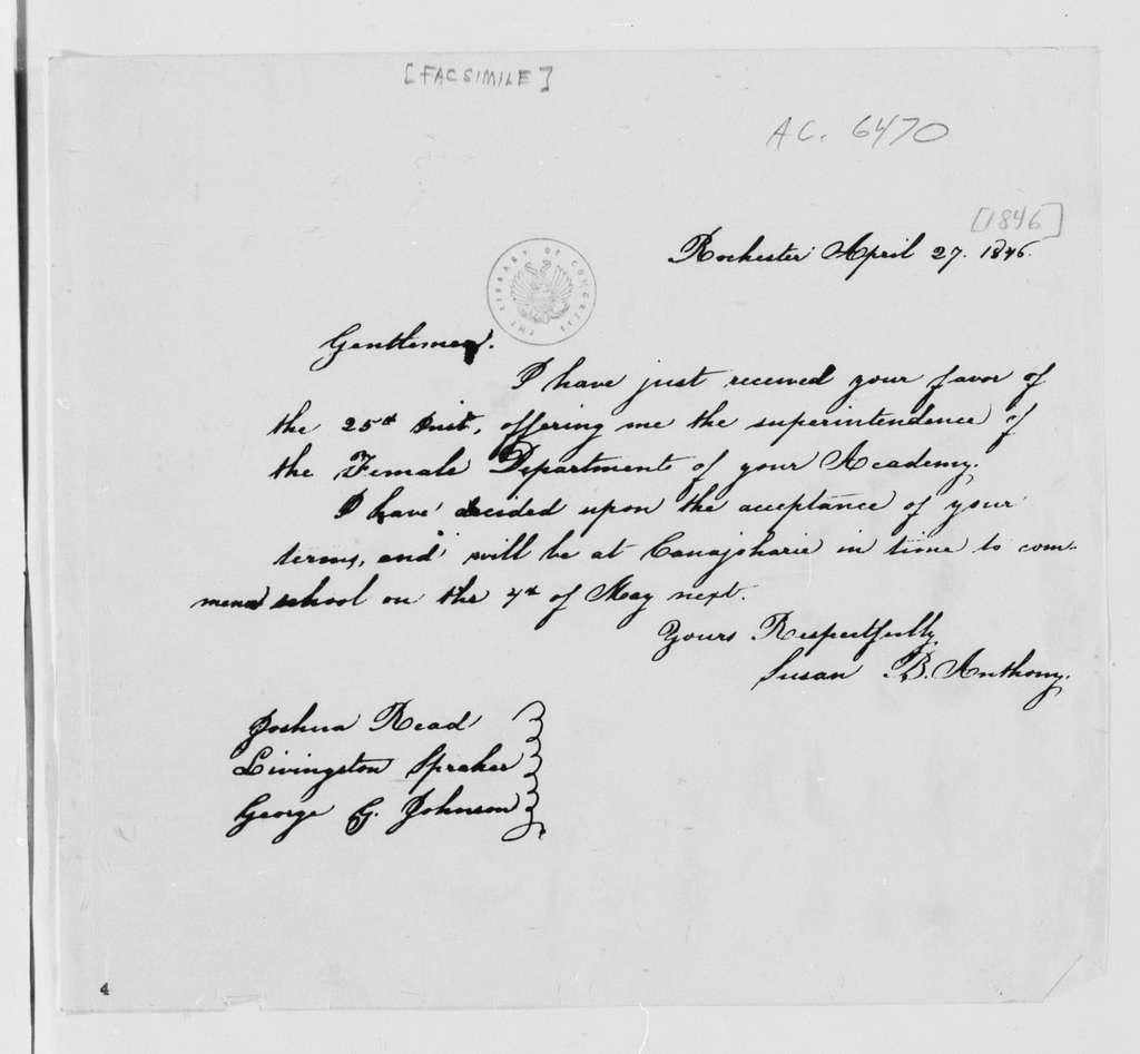 Susan B. Anthony Papers: Correspondence, 1846-1905; Bound volume