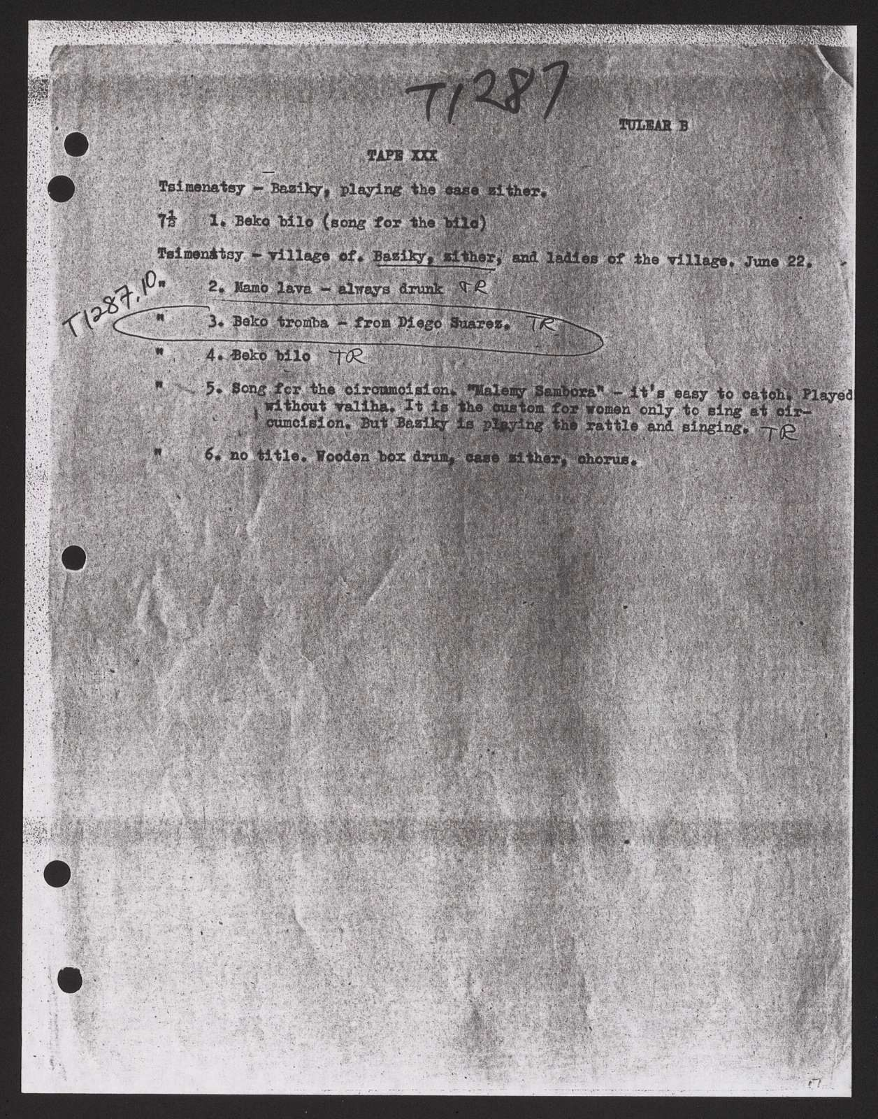 Alan Lomax Collection, Manuscripts, Performance style, Global Jukebox, AF (23), tape directory