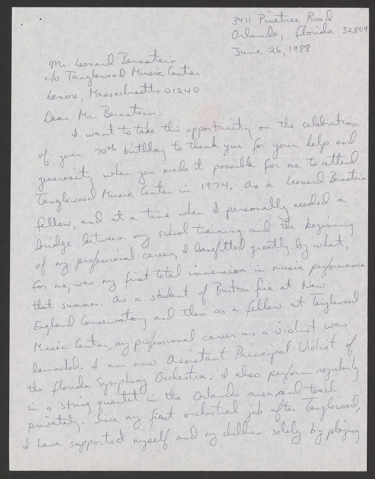 Barbara Morrell Rizzo to Leonard Bernstein, June 26, 1988