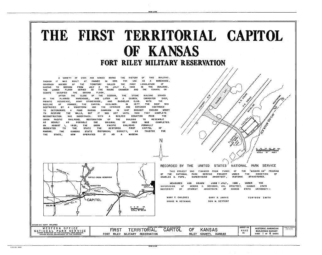 First Territorial Capitol of Kansas, Fort Riley Military Reserve, Riley, Riley County, KS