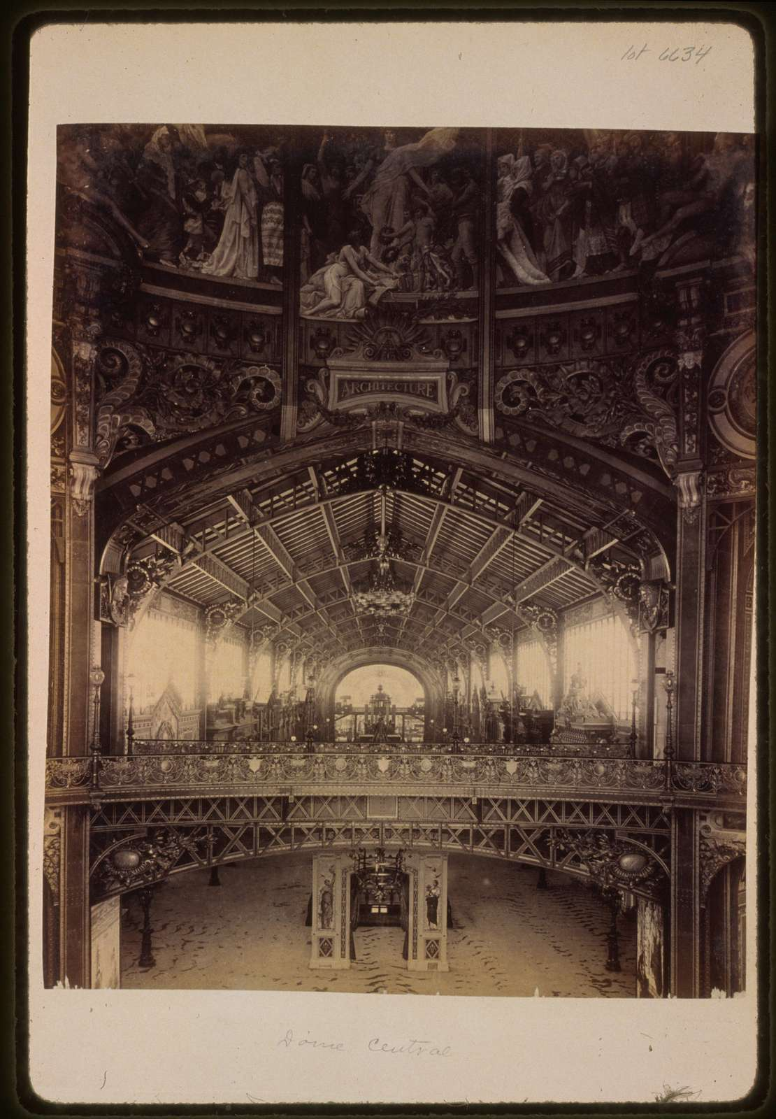 [Interior of the Central Dome, with a view toward the Gallery of Thirty Meters, Paris Exposition, 1889]