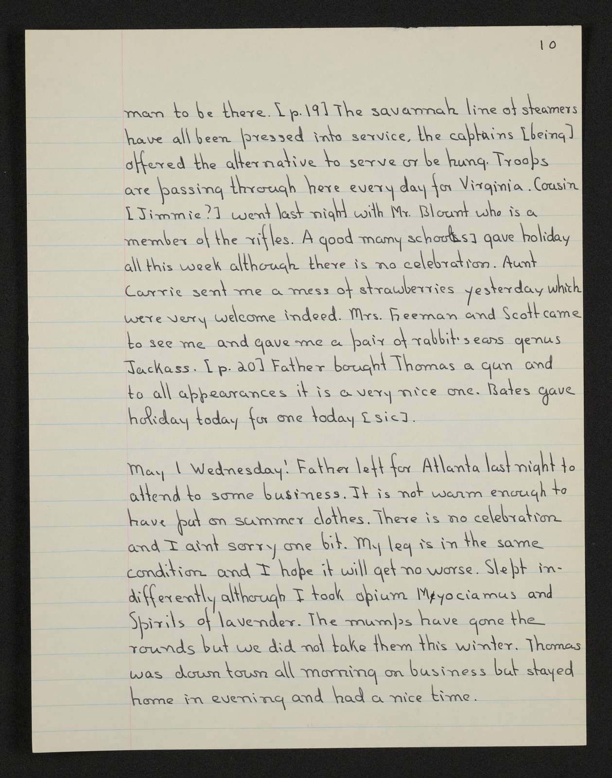 Lewis H. Machen Family Papers: Diaries and Diary Transcriptions, 1860-1865; Diaries; Gresham, LeRoy Wiley; Transcriptions; 1860-1861