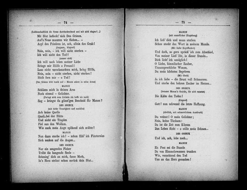 Manon Lescaut. Libretto. German