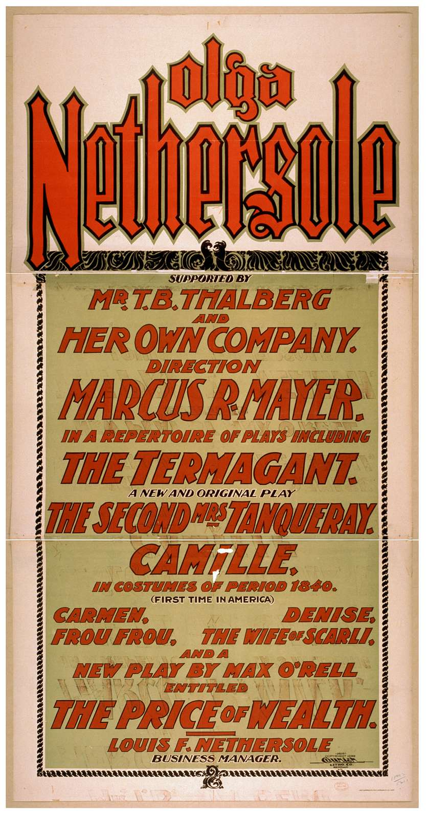 Olga Nethersole in a repertoire of plays ...