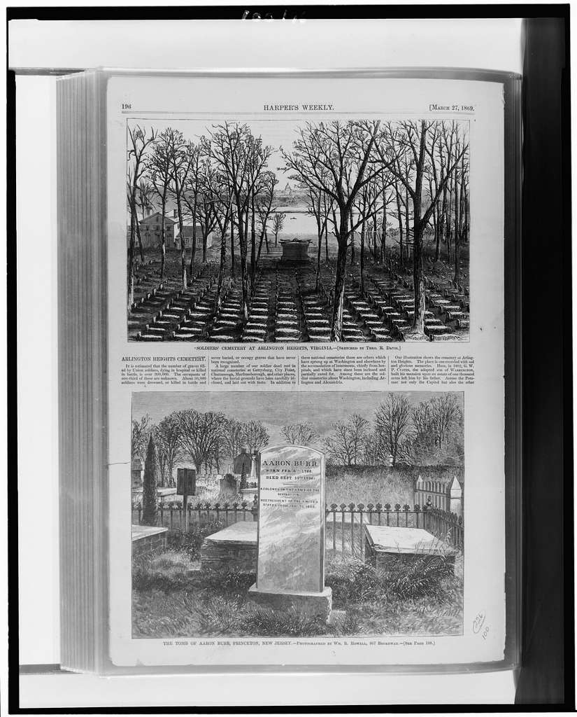 Soldiers' Cemetery at Arlington Heights, Virginia / / sketched by Theo. R. Davis. The Tomb of Aaron Burr, Princeton, New Jersey / photographed by Wm. R. Powell, 867 Broadway