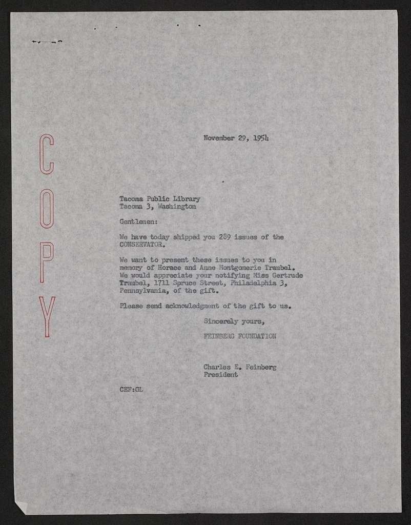 Walt Whitman Papers in the Charles E. Feinberg Collection: Supplementary File, 1806-1981; Personal Papers, 1854-1980; Feinberg, Charles E.; The Conservator; Shipments; Correspondence; M-Z