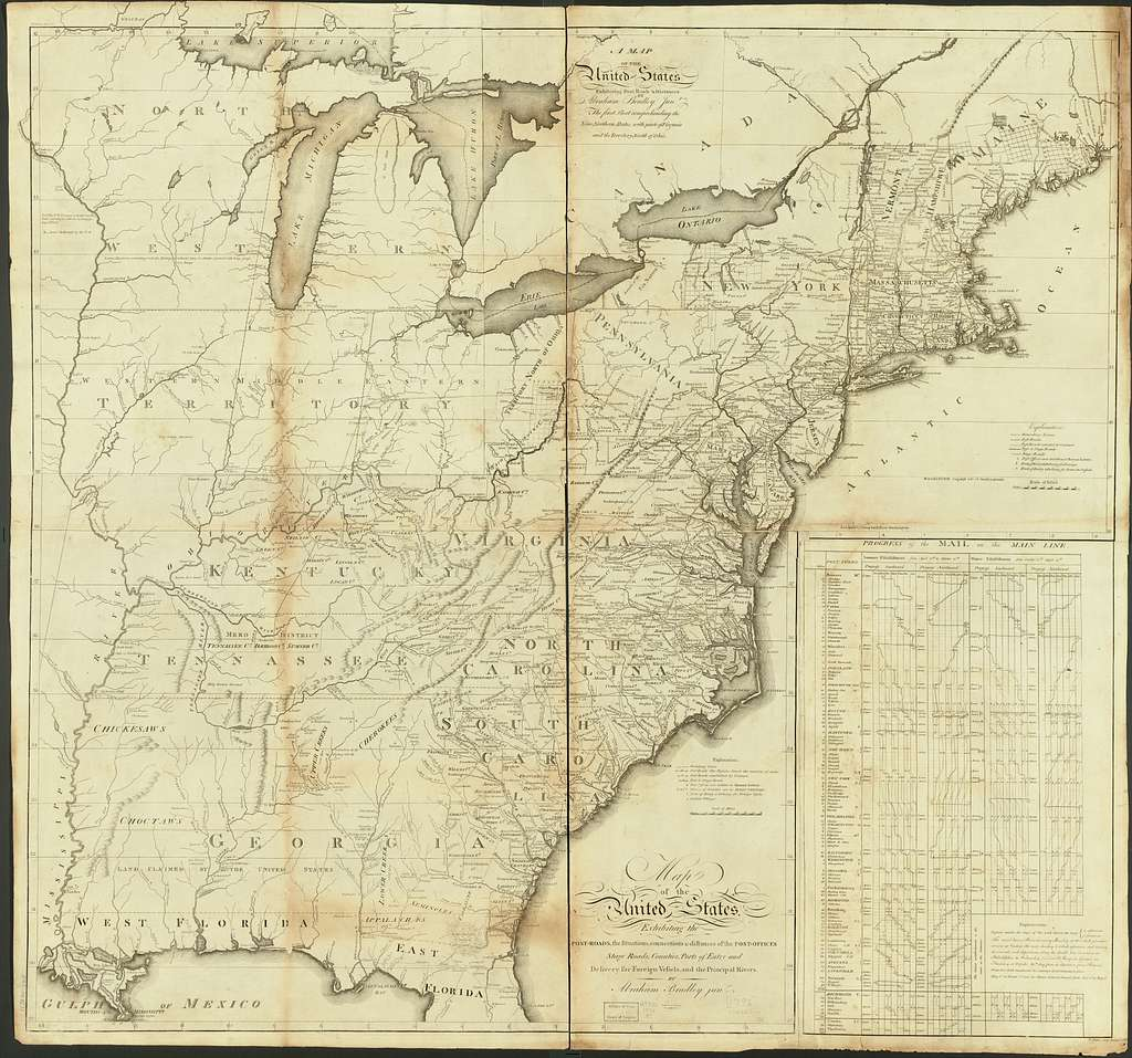 A map of the United States exhibiting post roads & distances : the first sheet comprehending the nine northern states, with parts of Virginia and the territory north of Ohio /