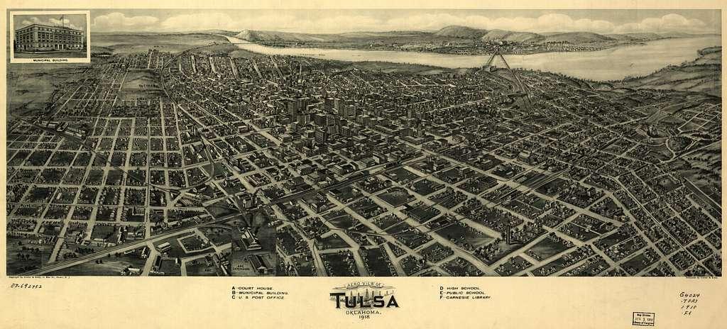 Aero view of Tulsa, Oklahoma, 1918. - PICRYL Public Domain Image