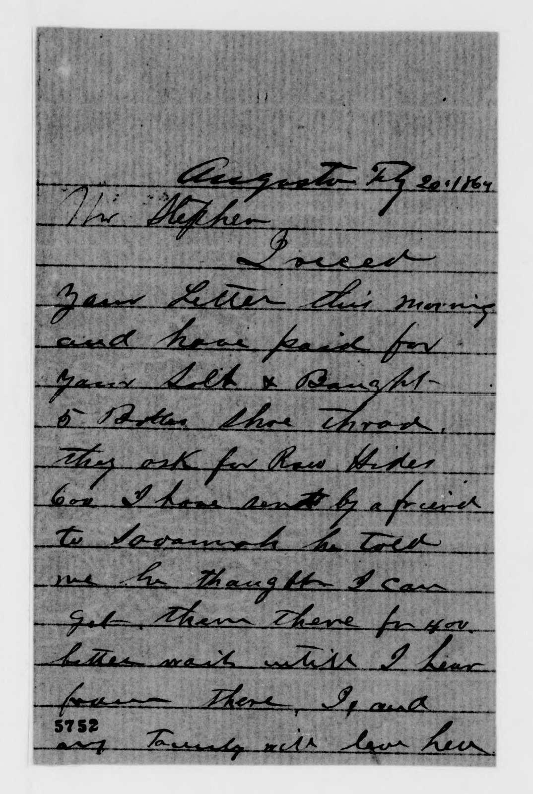 Alexander Hamilton Stephens Papers: General Correspondence, 1784-1886; 1863, Nov. 3-1864, Apr. 7