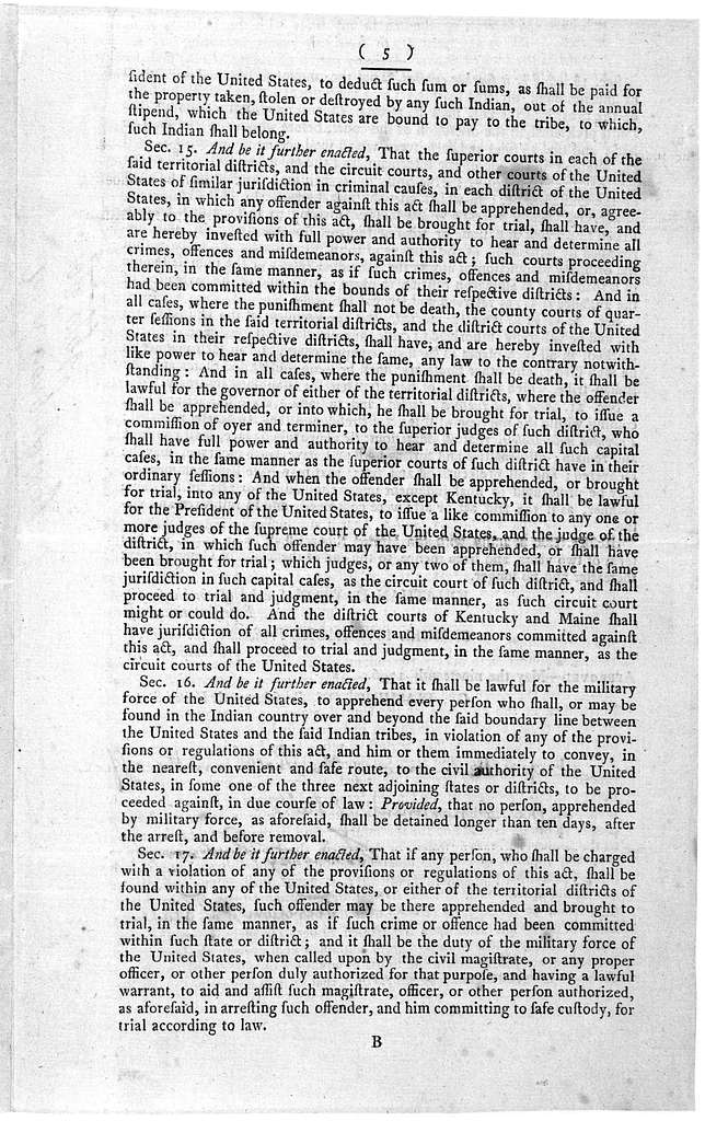 ... An act to regulate trade and intercourse with the Indian tribes, and to preserve peace on the frontiers [Philadelphia: Printed by Francis Childs, 1796.].