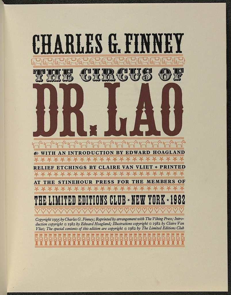 Circus of Dr. Lao (Newark, VT, 1984).