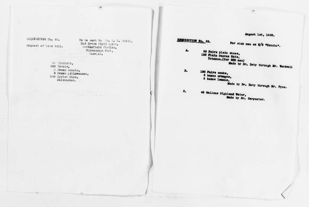 Clara Barton Papers: Red Cross File, 1863-1957; American National Red Cross, 1878-1957; Relief operations; Spanish-American War; Accounts and supplies; Requisitions, 1898-1899; Supply