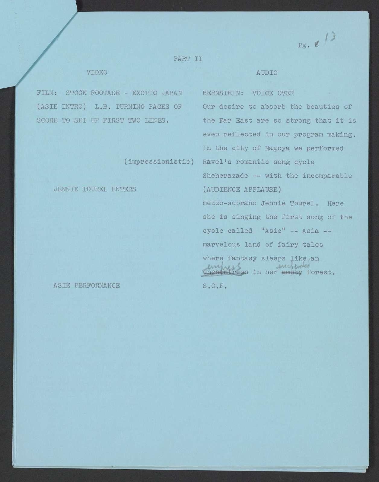 Leonard Bernstein and the New York Philharmonic in Japan TV script, Ford Presents, 1962 Feb. 6