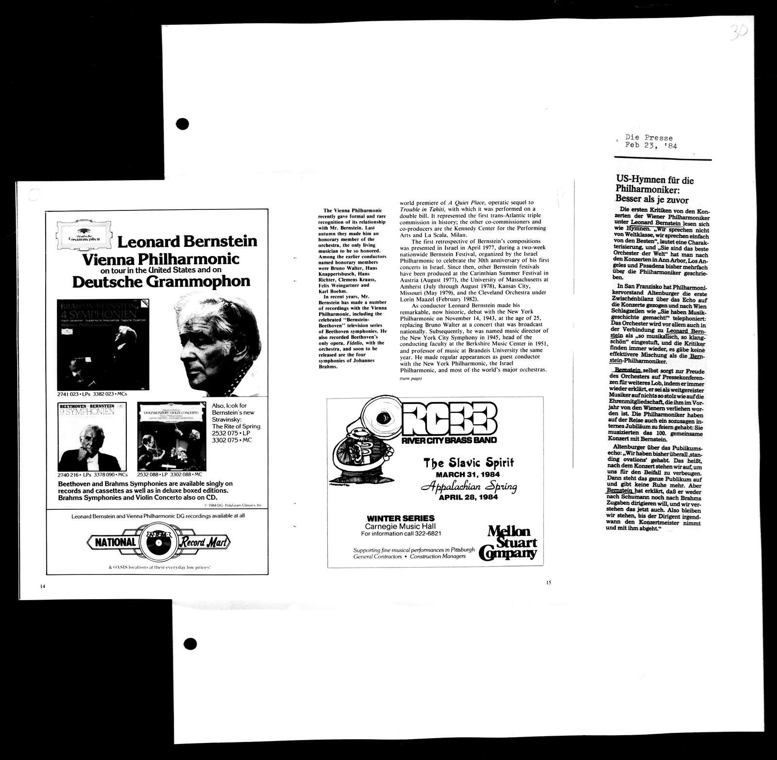 Leonard Bernstein Scrapbook: Vol. 109. Feb. 19, 1984-April 1, 1984