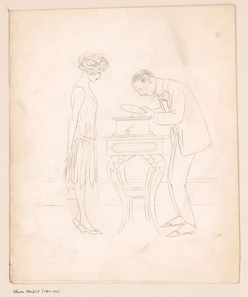 [Man, woman, and phonograph]