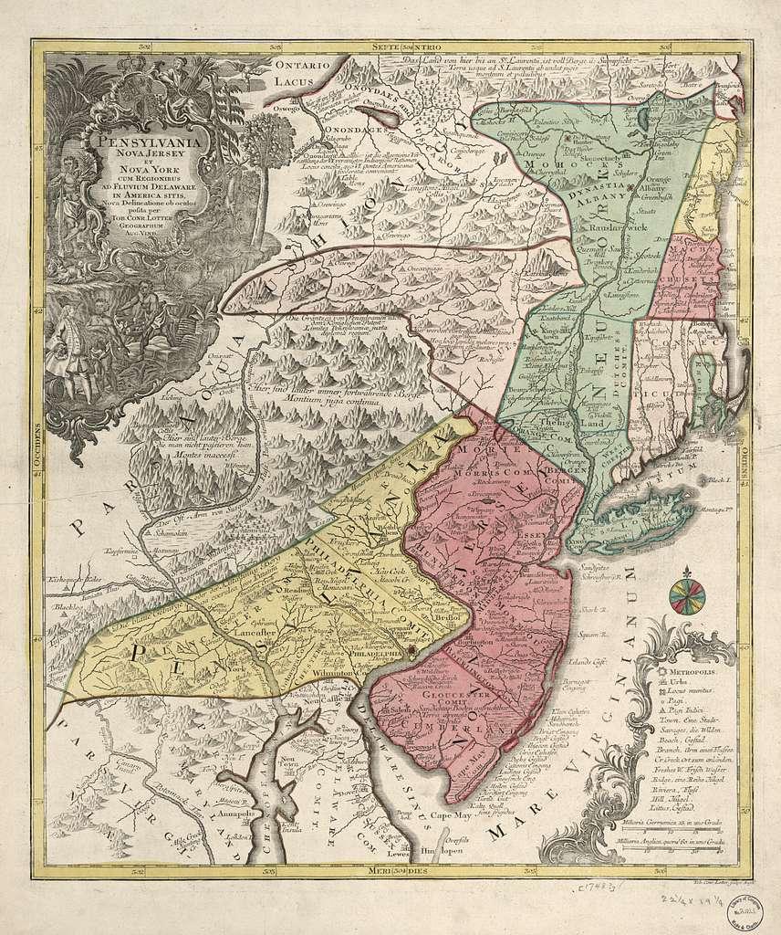 Pensylvania, Nova Jersey et Nova York cum regionibus ad Fluvium Delaware in America sitis /