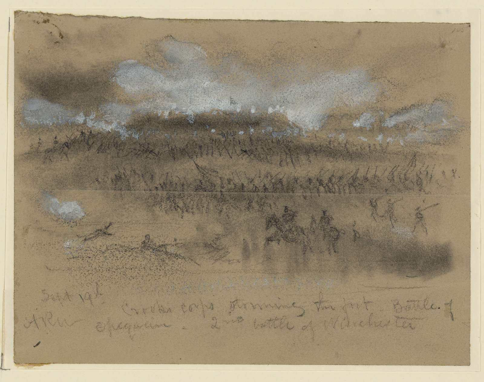 Sept. 19th. Crooks Corps storming to the fort. Battle of Opequon- 2nd battle of Winchester
