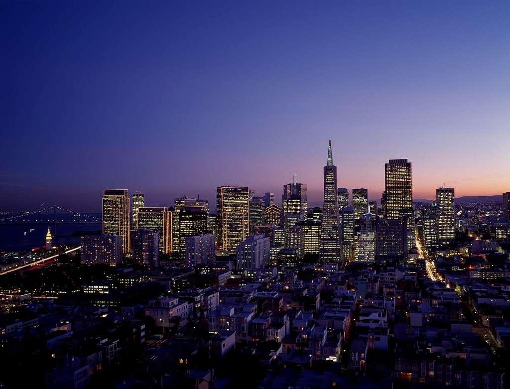 Aerial view of San Francisco, California, at dusk