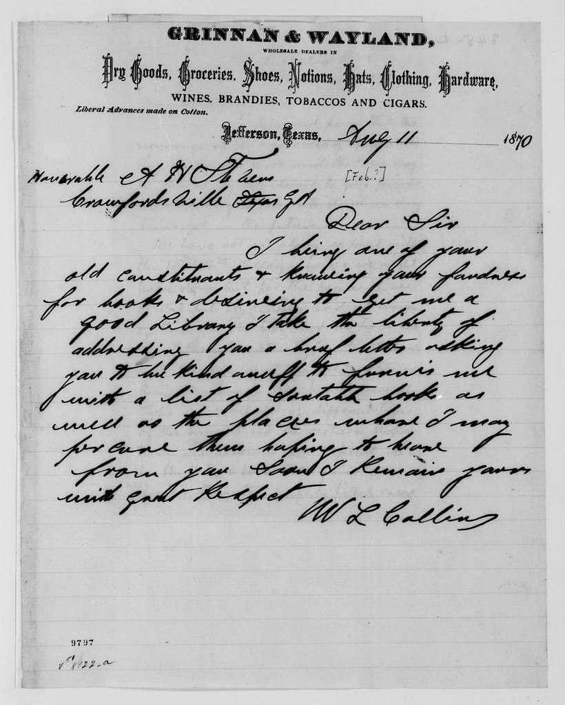 Alexander Hamilton Stephens Papers: General Correspondence, 1784-1886; 1870, Jan. 1-Feb. 24