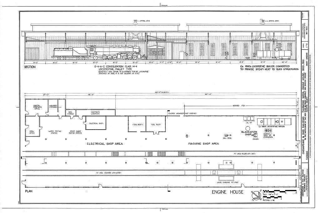 Chesapeake & Ohio Railroad, Engine House, Along south end ... on railroad depot house plans, draw my own house plans, railroad section house plans, railroad car house plans, railroad steam engine side rods,