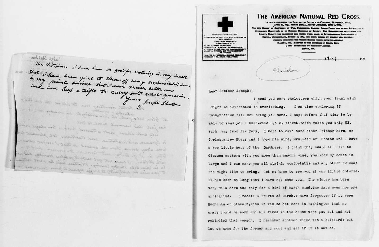 Clara Barton Papers: General Correspondence, 1838-1912; Sheldon, Joseph and Abby, 1868-1904