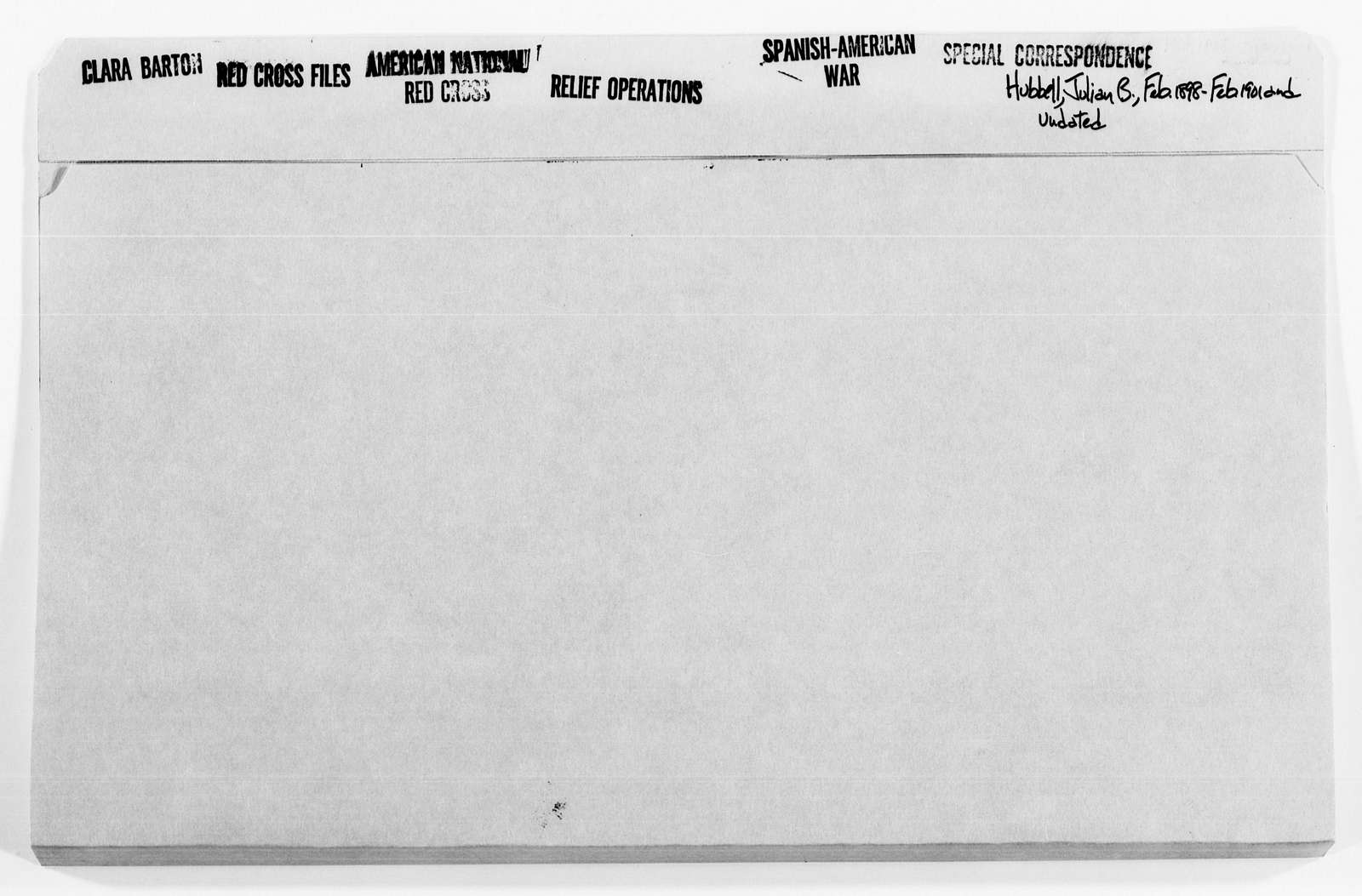 Clara Barton Papers: Red Cross File, 1863-1957; American National Red Cross, 1878-1957; Relief operations; Spanish-American War; Correspondence; Special; Hubbell, Julian B., 1898-1901, undated