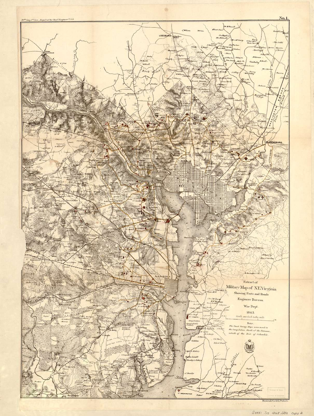 Extract of military map of N.E. Virginia showing forts and roads.