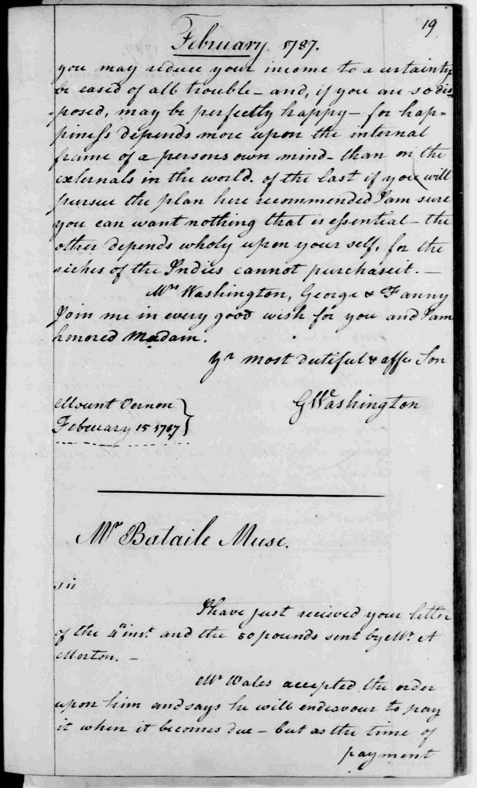 George Washington Papers, Series 2, Letterbooks 1754-1799: Letterbook 14, Feb. 11, 1787 - Feb. 22, 1788