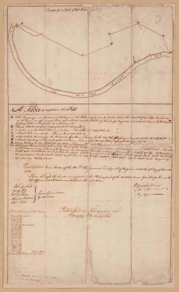 [Plat of a survey of 2,314 acres of land, being the first large bottom on the east side of the Ohio River, 3 or 4 miles below the mouth, a portion of which is divided into 17 lots]